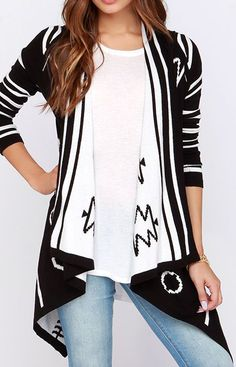 Flip a Coin Reversible Black and Ivory Print Cardigan Sweater