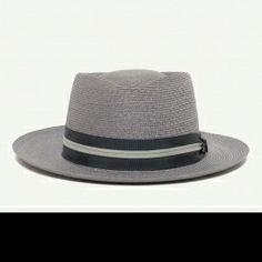 34bc0837d07 Hughes straw wide brim porkpie hat with 2 brim and crown made in America by Goorin  Bros.
