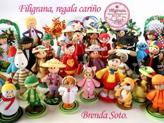 Filigrana regala cariño The header on Brenda Soto's quilling blog. All the figures are made with strips of quilling paper! Amazing :)
