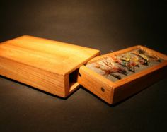 Fly Box - Wooden Fly Box - Elm Fly Box - Oiled Fishing Fly Box $87.20