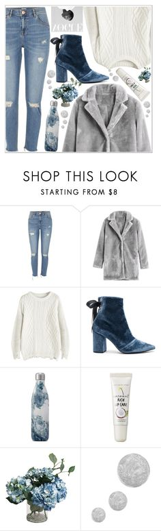 """""""style"""" by lena-volodivchyk ❤ liked on Polyvore featuring River Island, self-portrait, S'well, too cool for school and Topshop"""