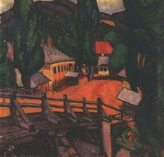 Lajos Tihanyi(1885–1938)  TitleLandscape with BridgeDate1909Mediumoil on canvasDimensionsHeight: 82 cm (32.3 in). Width: 81 cm (31.9 in).Current location  Budapest Historical Museum