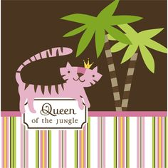 Queen of the Jungle Pink Girl Baby Shower Party Lunch Napkins