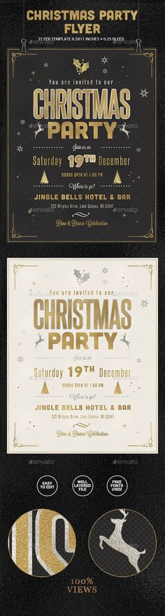 Golden Christmas Party Flyer Template PSD #design #xmas Download: http://graphicriver.net/item/golden-christmas-party-flyer/13369809?ref=ksioks