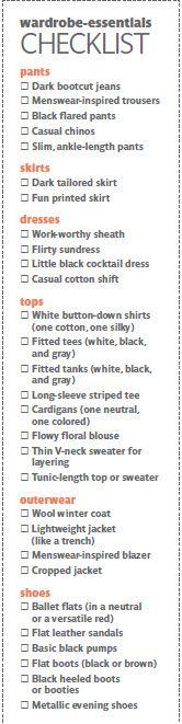 Wardrobe Essentials list