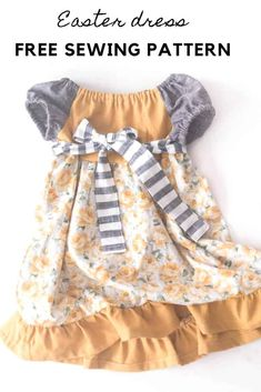 This adorable toddler dress pattern combines ruffles, lace, and cute, puffy sleeves. Get the toddler dress free sewing tutorial here. Peasant Dress Patterns, Baby Girl Dress Patterns, Peasant Dresses, Skirt Patterns, Coat Patterns, Blouse Patterns, Baby Patterns, Simple Dress Pattern, Pattern Dress