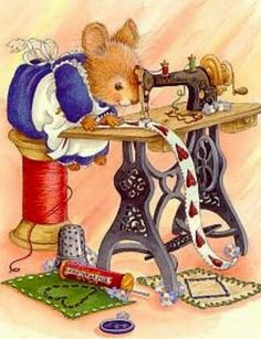 sewing mouse is so cute! I could make some kind of decoration for the sewing roo… sewing mouse is so cute! I could make some kind of decoration for the sewing room 🙂 Images Vintage, Vintage Pictures, Vintage Cards, Cute Pictures, Vintage Sweets, Vintage Ideas, Vintage Decor, Sewing Art, Sewing Rooms
