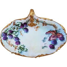 Outstanding J.P.L. France Limoges 1900's Hand Painted 'Blackberry' 10' One-Handle Tray by the Artist, 'L. Davis'