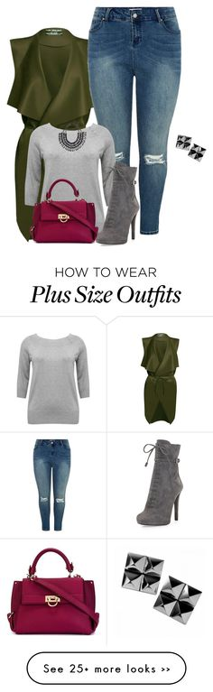 """""""plus size fall/winter fab in green"""" by kristie-payne on Polyvore featuring M&Co, Prada, Salvatore Ferragamo and Waterford"""