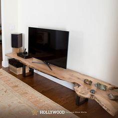 DIY WOOD SLAB INDUSTRIAL TV STAND