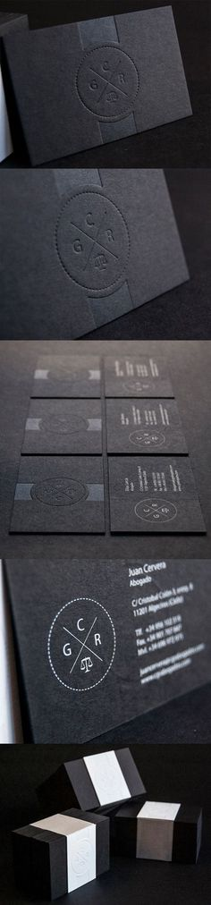 Slick And Professional Letterpress Minimalist Black Business Card Design