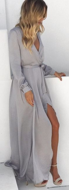 #winter #outfits gray long-sleeved high-low dress