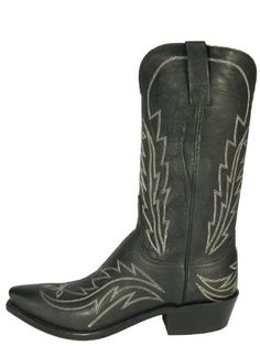 Lucchese Mens Black Sophia Goat Flame Boots