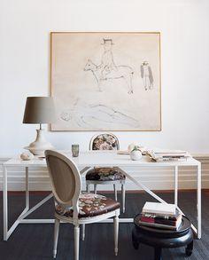 chic classic chairs + modern white desk
