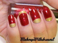 Cardinal and gold nail design. Hot Nails, Hair And Nails, 49ers Nails, Red And Gold Nails, Red Gold, Football Nail Art, Nails News, New Years Nail Art, Gold Nail Designs