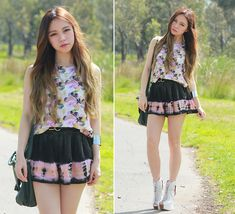 Water Colours (by Chloe T) http://lookbook.nu/look/4111462-Somedays-Shorts-Lovebird-Top-Sheinside-Cross
