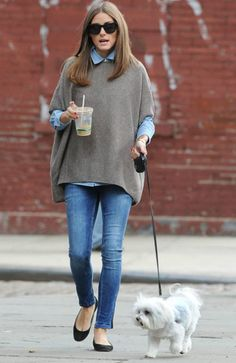 Love the chambray underneath that sweater.  And paired with the skinny jeans and flats?  It's perfect.
