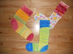 Podkolenky - malba + namotání vlny