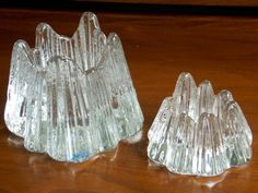 NYBRO Sweden by Rune Strand pair glass candleholders