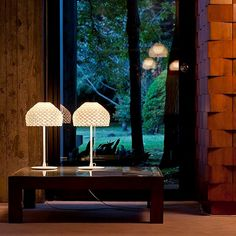 The Tatou table lamp, part of the Tatou collection, by designer Patricia Urquiola for Flos emits a diffused light and is available in white, black or ochre grey. Cool Lighting, Modern Lighting, Lighting Design, Patricia Urquiola, Contemporary Table Lamps, Modern Table, Desk Light, Light Table, White Table Lamp