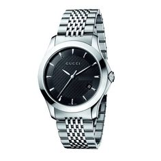 Ya126402 G-timeless Medium Black Dial Stainless-steel Watch by #Gucci