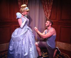 Fun series of photos - a guy bought a ring at Wal Mart and then proposed to several Disney princesses!