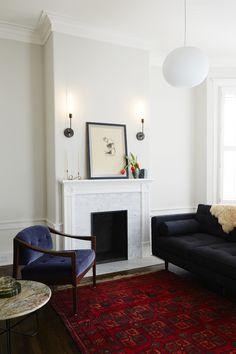 Nicole Franzen | Red Rug with Blue Velvet Sofa