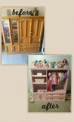 Entertainment center redone in pink or purple for a princess; blue, red, black for a prince's superhero wardrobe changing station!