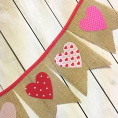 Valentines Day Pink Burlap Pennant Banner with White Hearts for Mantles…