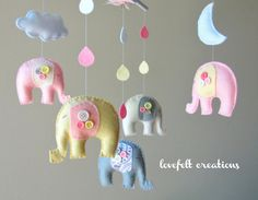 Elephant Baby crib mobile  Baby Mobile  Custom by LoveFeltXoXo, $140.00