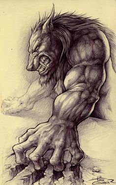 Werewolve sketch by garciar