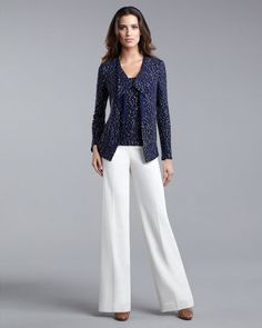 Sequined Cardigan, Sleeveless Shell & Diana Marocain Pants by St. John Collection at Neiman Marcus.