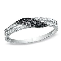 1/5 CT. T.W. Enhanced Black and White Diamond Swirl Band in 10K White Gold - Clearance - Zales
