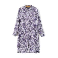 Fashion Long Sleeve High Low Hem Tiny Floral Print Shirt Dress For... ❤ liked on Polyvore featuring dresses, long sleeve dresses, high low dresses, purple floral dress, lavender dress and hi low dress