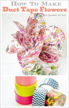 Learn how to make duct tape flowers using scotch color and patterns duct tape. A step by step tutorial on how to make duct tape flower headbands + flower. Diy Projects To Try, Crafts To Do, Craft Projects, Crafts For Kids, Paper Crafts, Arts And Crafts, Quick Crafts, Craft Ideas, Diy Ideas