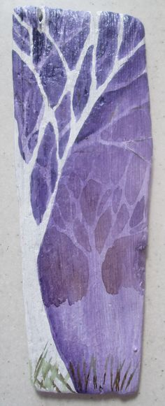 painted driftwood, watercolour on gesso base, varnished and ready to hang
