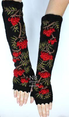Hand Knitted Fingerless Gloves Rowanberry Length 41 cm 164