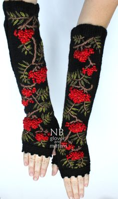 Hand Knitted Fingerless Gloves, Rowanberry, Length 41 cm (16,4 inches),  Black, Red, Green, Gift Ideas, For Her, Accessories, READY TO SHIP