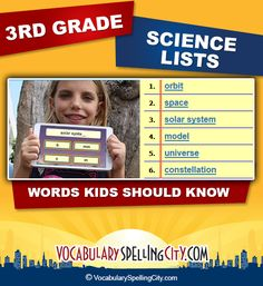 Use this science word list with our interactive vocabulary games to supplement third grade science curriculum.
