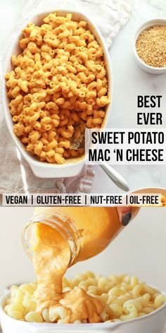 How to make the best ever mac and cheese! This vegan macaroni and cheese is nut-free, gluten-free, oil-free, sweet potato based, and cheesier than ever! You will love this sweet potato mac 'n cheese. Vegan Dinner Recipes, Dairy Free Recipes, Whole Food Recipes, Vegan Sweet Potato Recipes, Raw Recipes, Sin Gluten, Vegan Gluten Free, Vegan Foods, Vegan Dishes