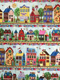"""Timeless Treasures """"Row by Row Fabric"""" Row #4491-multi - Stores and Homes in…"""