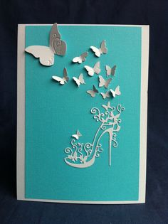 Tiffany Blue & White High Heel Shoe and Butterflies door Bermarc, €10.50