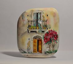 Painted stone, sasso dipinto a mano. Tuscan home