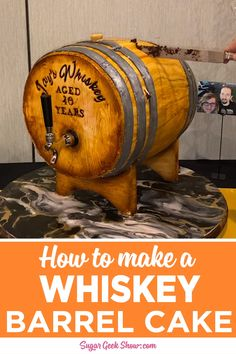 Learn how to make this cake in my newest step-by-step video tutorial. This cake features a realistic whiskey barrel shape, edible metal details, a marbled cake board, a rounded bottom that sea Cake Decorating Frosting, Cake Decorating Videos, Cake Decorating Techniques, Crazy Cakes, Fancy Cakes, Whiskey Barrel Cake, Whiskey Cake, Gravity Defying Cake, Gravity Cake