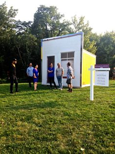 Outside of The Temporary Suburban (L to R): Participating artist's Kris Komakech, Nathaniel Russel, Tricia Paik, Emily Kennerk, Marco Querin and The Suburban's Brad Killam. MICHELLE GRABNER