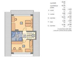Proiect superb de casa cu mansarda in suprafata de 90 mp! Small House Design, Design Case, Floor Plans, 1, How To Plan, Houses, Design For Small House, Small Home Design
