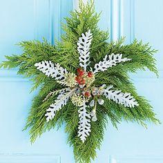 This cedar snowflake wreath is so classically festive.