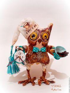 Купить СОВА С ДОБРЫМ УТРОМ - сова, сова игрушка, сова в подарок, текстильная игрушка