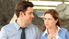 As we celebrate the anniversary of the five-time Emmy-award winning comedy series, The Office, we look back at some of the best its highlights -- Pam and Jim's relationship. Harmless Pranks, Snl News, Best Tv Couples, New Girl Quotes, Jenna Fischer, Jim Halpert, Good Pranks, John Krasinski, Actor John