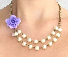 Ivory Pearl Necklace Purple Jewelry Purple Necklace. $32.00, via Etsy.